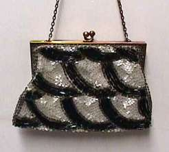 Black & White Tiny Beaded Deco Design Purse