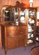 Oak Curved Glass China Buffet