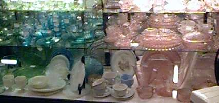 Showcase of Depression Glass