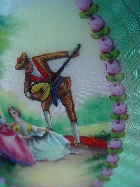 Figural Hand Painted Serenade Enamel Guilloche Dresser Set