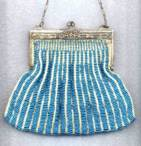 Blue Beaded Swag Purse w/Filigree Stars on Frame