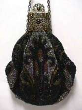 Victorian Beaded Puffy Purse with Marcasites and Jeweled Frame
