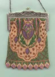 Whiting and Davis Purple and Green Mesh Purse with Original Box