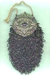 Victorian AMETHYST Beaded & JEWELED Vanity Purse