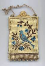 RARE Elsah Figural Enamel Mesh Purse with Gold frame