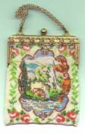 "Scenic Beaded ""Down by the Old Mill Stream""  w/Enameled & Jeweled Frame"