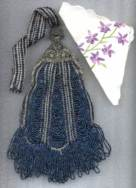 Lovely Victorian Blue Carnival Glass Beaded Swag Opera Purse w/ Ornately Filigreed Frame and Embroidered Hanky