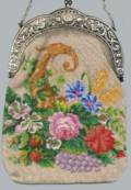 Scenic Cornucopia Beaded Purse with Silver Cherub Frame