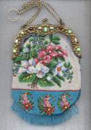 1800's Beaded Purse with Ornate Jeweled Frame