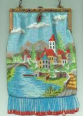 Scenic Venetian Beaded Purse w/Village, Bridge, Water, Boat and Jeweled Frame