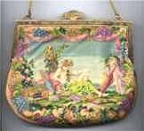Maud Hundley Signed Micro-Petitpoint Purse with Cherubs and Baskets of Grapes and Flowers with Jeweled Frame