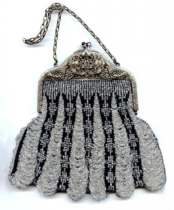 Stunning Victorian 	Silver and Black Swag Purse with Ornately Filigreed Frame and Jeweled Clasp