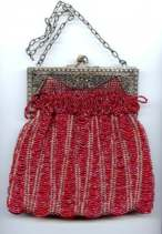 Stunning Ruby Red Victorian Beaded Swag Purse with Ornately Filigreed Frame