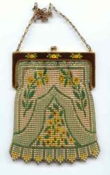 Rare Style Whiting and Davis  Mesh Purse with  Yellow Roses on Frame