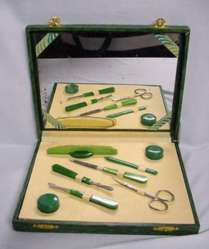 Green Celluloid Deco Traveling Manicure Set with Original Mirrored Box
