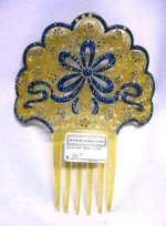 Vintage Celluloid Jeweled Hair Comb