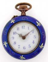 Cobalt Sterling Silver Enamel Lady's Pocket Watch