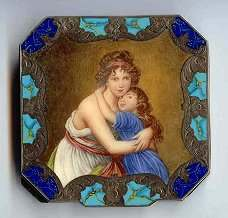 Italy Sterling Vermeil Mother and Child Self-Portrait Compact