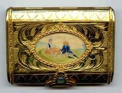 Italy Sterling Vermeil Compact with Hand-Painted Scene on Ivory Under Glass