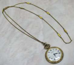 Jean Perret Enamel Guilloche Pendant Watch