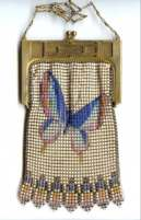 Rare Whiting and Davis Figural Butterfly Mesh Purse with Unusual Inlaid Mesh Frame