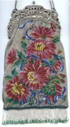 Spectacular Victorian Large Floral Beaded Purse with Figural Cherubs Pierced Silver Frame