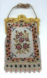 Mandalian Mesh Purse with Jeweled Frame and Original Box
