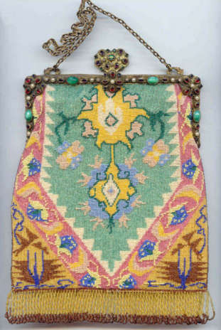 Carpet Beaded Purse with Jeweled Frame