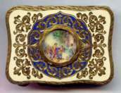 Super Fine Italian Sterling Vermeil Compact with Hand-Painted Scene on Ivory Under Glass