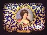 Italian Sterling Vermeil Figural Compact Featuring Hand-Painted Portrait on Ivory of Empress Josephine