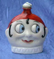 German Googly Eyed Blown Glass Perfume Bottle