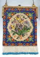 Violets and Pansies Carpet Design Beaded Purse - Knockout!