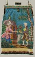 Colonial Couple Figural Beaded Purse with Jeweled Frame
