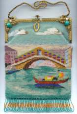 "Venetian Beaded Scenic Famous ""Rialto Bridge"" with Spectacular Jeweled and Enameled Frame ~ MINT Condition! ~"