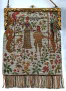 French Steel Bead Cluny Tapestry Figural Beaded Purse