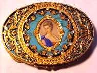 RARE JEWELED Italian Sterling Vermeil Compact with Hand-Painted Portrait on Ivory