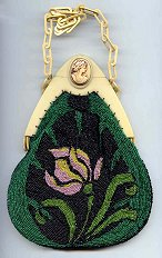 Lovely Iris Beaded Purse w/ Carved Cameo Celluloid Frame