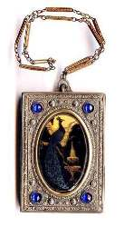 Sapphire Jeweled Vanity Purse w/ Figural Peacock Scene