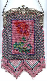 Pretty Pink and Teal Beaded Purse with Angel and Cupids Art Nouveau Frame - Made in 1920's	in State Prison in Deer Lodge, Montana