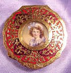 Italian Sterling Silver Figural Compact featuring Hand-Painted Portrait ofYoung Girl Under Glass
