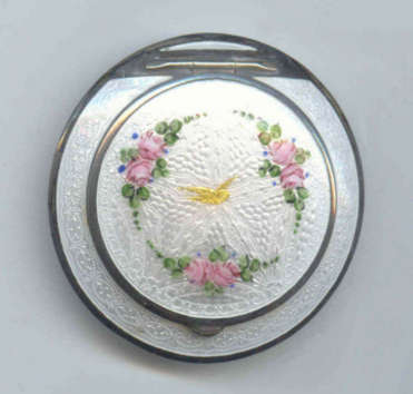 Marathon Enamel Guilloche Compact with Gold Bird