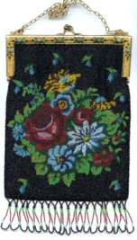 Stunning Floral Beaded Purse with Jeweled and Enameled Frame