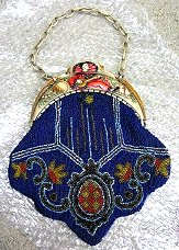 Gorgeous Deco Beaded Purse Made in France with Figural Pierrot Carved Celluloid Frame