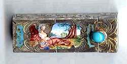 Italian Sterling Silver Figural Lipstick Case featuring Goddess Artemis (Diana) of the Hunt ~ Jeweled Clasp ~