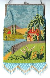 Vintage Scenic Beaded Purse
