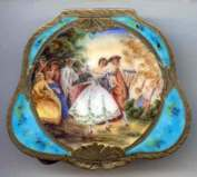 Italian Sterling Silver Figural Compact featuring Dancing Couple and Musicians ~Wedding Scene ~