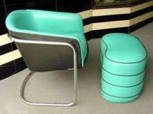 Tubular Chrome Chair and Matching Ottoman