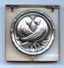 Lucite and Sterling Compact with Birds