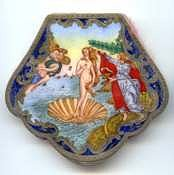 Italian Sterling Silver Figural Compact featuring Botticelli