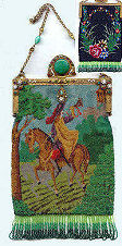 Double Sided Figural and Scenic Beaded Purse with Jeweled Frame